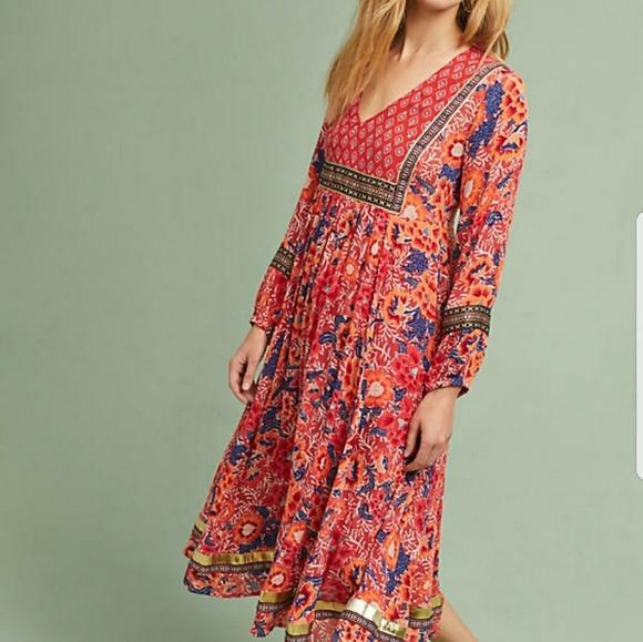fb561a60bd0f4 Rd & KoKo Dresses   Anthropologie Orange Midi Trimmed Peasant Dress ...